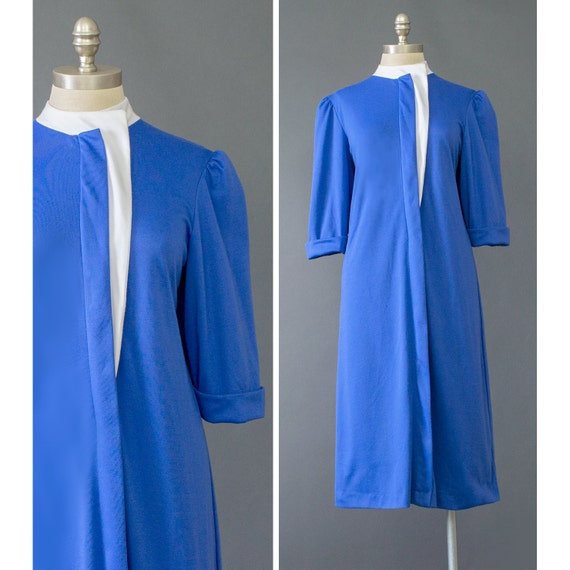 Dress - Shirt Dress - White & Blue Dress - Jersey Dress - 1980s Dress ...