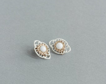Vintage White And gold Clip On Earrings with Rhinestones Round Retro Jewelry Mid Century Wedding