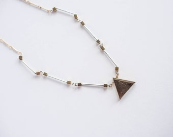 Vintage Gold Silver Geometric Necklace Funky Boho Bohemian Large Bold Statement 1980s