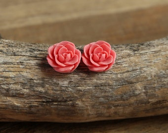 Coral Pink (10) 13mm Dainty Resin Rose Cabochons CF1027