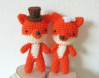 Crochet Fox Wedding Cake Topper, Woodland Wedding Cake Decoration