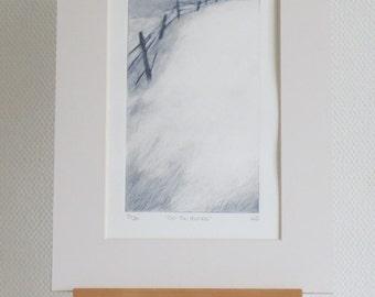On the sand dunes original dry point etching original print coast path