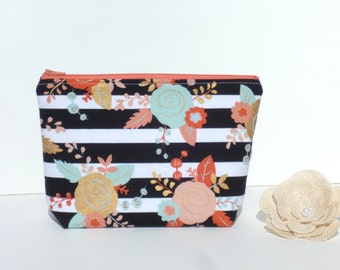 Cosmetic / Make-Up Bag. Zip Pouch, Gadget / Pencil / Phone Case - Floral & Stripe Metallic Gold, Coral, Mint