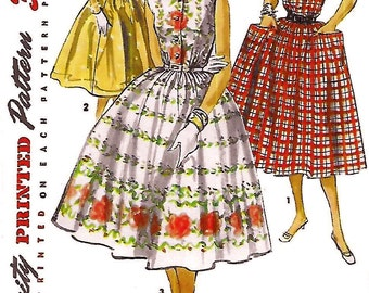 Simplicity 1084 Misses' 50s One-Piece Full Gathered Dress Sewing Pattern Bust 32