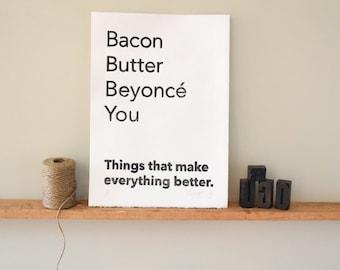 Valentines Love Boyfriend Girlfriend Husband Wife Gift Art Print Bacon Butter Bey Linocut Print Wall Art
