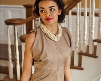 Camel Tweed Fitted dress, with Cowls at the Sleeves