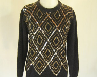 Golden Sequin Diamond Sweater Top Glam