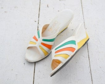 1970s Funsters Bright Wedges, Size 8