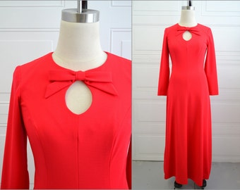 1960s Cover Girl Red Maxi Dress with Keyhole