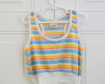 1980s Dobie Striped Girls' Tank Top