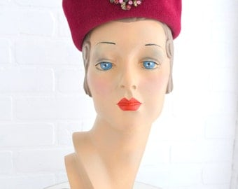 1960s Angel Berry Red Hat