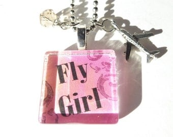 Flight Attendant Jewelry Fly Girl Flight Attendant Glass Tile Necklace with airplane charm and crystal on 24 inch Silverplated Ball Chain