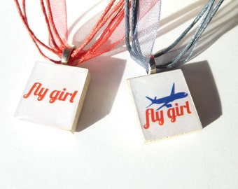 Flight Attendant Necklace Fly Girl Flight Attendant Scrabble Tile Pendant Necklaces