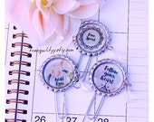 Planner Clips, Bottle Caps Bohemian Chic Crystal Calender Clips,  Bottle Caps Planner Sliver Clips,  Celabration Clips ,By:tranquilityy