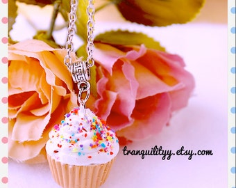 Sprinkle Cupcake Necklace, Clay Necklace ,  Vanilla Frosting Sprinkles Kawaii, Handmade By: Tranquilityy