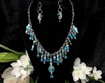 Blue Crystal Lace Necklace & Earrings - Hand crafted (#38)