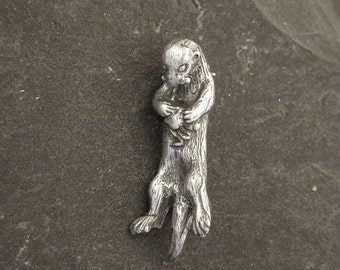 Sterling Silver Sea Otter Eating Crab Brooch