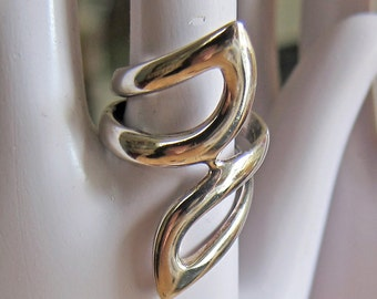 Sterling Silver Elongated Design Ring Size 6.50 Wide Band Fits Smaller