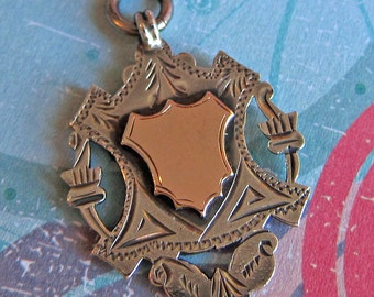 1915-16 Antique English UK Sterling Silver and Rose Gold Pocket Watch Fob or Sterling Pendant Birmingham