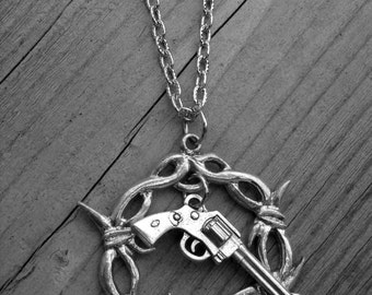 Barbed Wire and Western Pistol Silver Gun Necklace Barb Wire Southern Country Girl Cowgirl Heavy Metal Punk Rock and Roll Rocker Rock n Roll