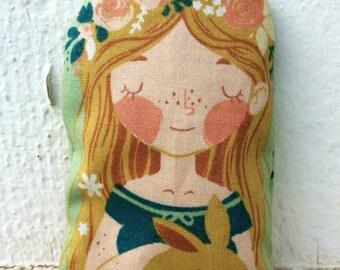 Organic Cotton Lavender Sachet - Bunny Rabbit and Little Girl - Easter