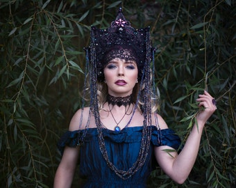 Iridescent Black 'Mariah' Crystal Beaded Couture Goth Crown Headdress