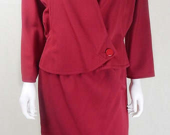 Original 1980s Vintage Courreges Red Skirt Suit UK Size 8