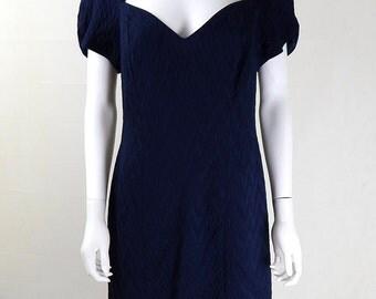 Original Vintage 1980s Navy Textured Pencil Dress UK Size 14