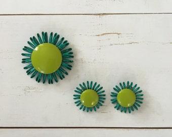 Vintage 60s Brooch/ 1960s Enamel Brooch/ Turquoise & Lime Green Enamel Brooch w/ Matching Earrings