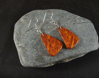 Wooden Dangle Earrings - Amboyna Burl Natural wood - Teardrop style -  Great gift for a birthday or anniversary
