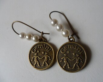 Gemini Earrings! June Gemstone Is Pearls! June Birthday Earrings! 6 Faux White Pearls! Bronze Charms! Free Shipping & On Sale Now + 15% Off!