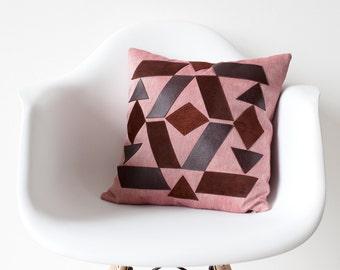 Tribal applique linen leather pillow