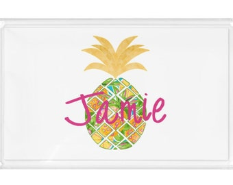 """Personalized Lucite Tray - 11x17""""- Pineapple Acrylic Tray, Desk Tray, Vanity Tray - New Couple Gift- Beach Home - Hostess Gift"""