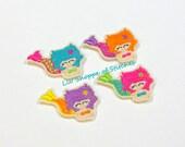 Mermaid Felties-Mermaid Embroidered Felt Applique-Mermaid Feltie Applique- Mermaid Feltie-Mermaid Stitchie-UNCUT (set of 4)