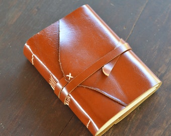 """One of a Kind / Leather Journal / Handmade / Diary / 6""""X4"""" / FREE initials / LINED or plain"""