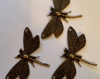 "3 Large Dragonflies 2"" Wingspan Dragonfly New Antiqued Bronze Connector Pendant Charm Focal Piece"