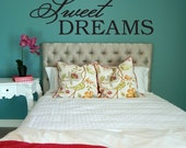 Sweet Dreams Decal, Sweet Dreams Wall Decal, Bedroom Decal, Bedroom Decor, Bedroom Wall Decal, Baby Shower Gift, Childrens Wall Decal, Decal