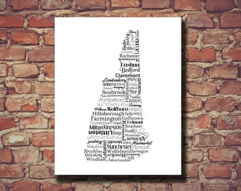 New Hampshire Print, New Hampshire Map, NH, State Map, Wedding, Personalized, Print, Custom, Cities, Housewarming Gift, Travel Map, State