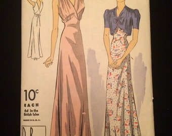 1930's Women's Nightgown and Jacket Vintage Sewing Pattern EXCELLENT SHAPE DuBarry Bust 32