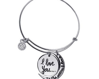 Stunning - I Love You to the Moon and Back Necklace - Bracelet - Jewelery Holiday Gift Grandmother Mother Daughter Lover