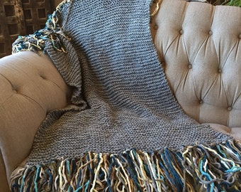 Chunky Knit Blanket Chunky Blanket Chunky Throw Blanket Teal, Grey Chunky Mini Blanket Throw Fringe Thick Blanket Afghan