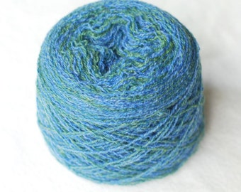 Cashmere Gradient Yarn, Recycled, Blue Teal Green, Lace Weight, 367 yards,hand dyed, Hand Painted, Short Gradient, Lot #19