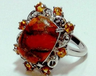 Mojave Orange Turquoise ,Citrine, White Topaz Ring