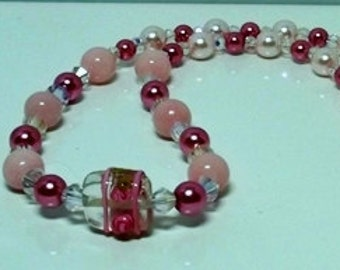 Pink and Burgundy Pearl Necklace