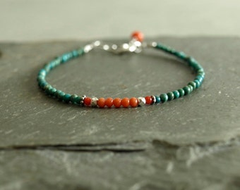Coral Turquoise Bracelet, sterling, natural undyed orange and red coral, real tiny turquoise, small bead bracelet, genuine coral jewelry