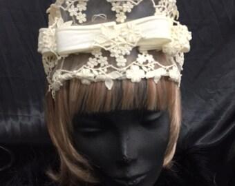 Vintage lace bridal headpiece