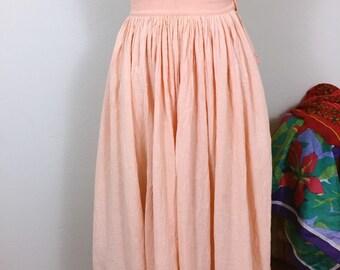 Phool 70's 80's Tangerine Organic Cotton Indian Gauze Skirt , Full Mid length skirt, Spring Hippie Boho Chic Skirt, sz small xs
