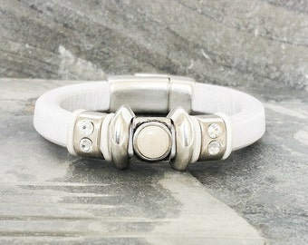 Silver White Leather Bracelet