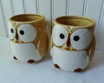 2 Owl Mugs. Vintage Coffee Mugs Tea Cups. Cottage Kitchen Woodland Decor.