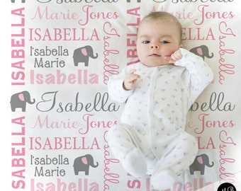 Baby blankets etsy elephant name blanket in pink and gray for baby girl personalized baby gift blanket negle